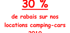 30 % de rabais sur nos locations camping-cars